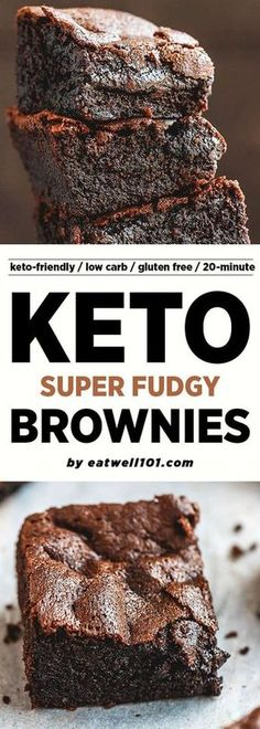 Super Fudgy Low-Carb Keto Brownies Recipe Low-Carb Chocolate Brownies This low carb keto brownies recipe is fudgy, super easy to make, literally melt in your mouth. This easy keto-friendly dessert works also well as an afternoon rezepte Keto Desserts, Paleo Dessert, Low Calorie Desserts, Keto Friendly Desserts, Low Carb Sweets, Dessert Recipes, Keto Snacks, Breakfast Recipes, Dinner Recipes