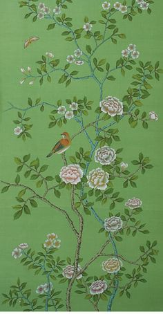 Dreaming in Green: Gorgeous Chinoiserie Hand Painted Wall Coverings. De Gournay Wallpaper, Chinoiserie Wallpaper, Chinoiserie Chic, Wallpaper Series, Flower Wallpaper, Wall Wallpaper, Bedroom Wallpaper, Green Wallpaper, Hand Painted Wallpaper