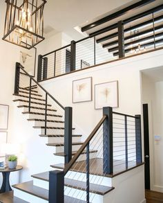 Staircase Inspo | railing design, wall art, lighting