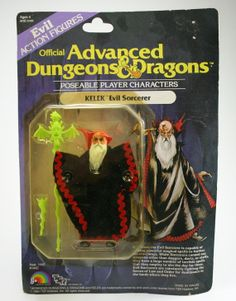 Kelek, the Evil Sorcerer, from the Advanced Dungeons & Dragons action figures released by LJN and TSR in 1983 1980s Toys, Retro Toys, Vintage Toys, Dungeons And Dragons Figures, Advanced Dungeons And Dragons, Toy Packaging, Old School Toys, Science Fiction, Childhood Toys
