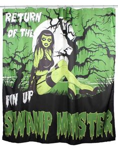 Swamp Monster Pinup Shower Curtain by Too Fast Clothing