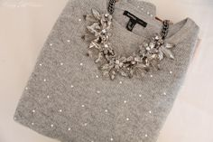 Love the sweater and the the statement sparkle necklace