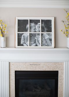 DIY Antique Window Picture Frame... great use for old windows! Cost less than $5 to make!