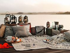 Fun idea for picnic on the dock at the lake