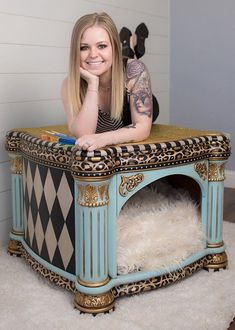 I think Id like to put a kitty litter box in this lovely piece Brittany Pistole Funky Furniture Facelifts Whimsical Painted Furniture, Painted Bedroom Furniture, Pet Furniture, Funky Furniture, Unique Furniture, Repurposed Furniture, Shabby Chic Furniture, Furniture Makeover, Vintage Furniture