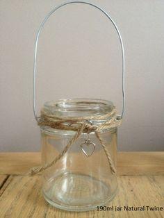 Vaso di muratore shabby chic vetro appeso lanterna del supporto di tè a lume di…