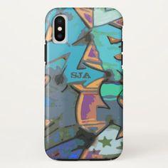 Blue Graffiti Design iPhone X Case - personalize cyo diy design unique