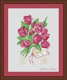 Bouquet of purple Tulips For you Counted Cross от HallStitch