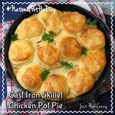 Cast Iron Skillet Chicken Pot Pie Recipe is perfect for National Pot Pie Day! There's nothing more comforting than some good old fashioned comfort food.