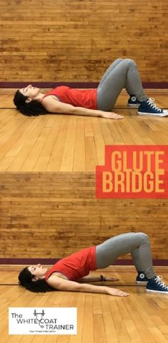 Glute Bridge - This basic exercise teaches the importance of activating and strengthening the abs and the glutes while providing a gentle stretch to the hip flexors. Perform this exercise for sets of 10 reps with a hold at the top. Posture Fix, Better Posture, Bad Posture, Improve Posture, Posture Correction Exercises, Posture Exercises, Body Stretches, Hip Flexor Exercises, Back Exercises
