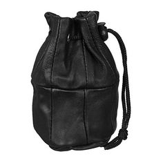 Black Leather Drawstring 'Dolly' Bag Phone Pouch ($3.69) ❤ liked on Polyvore featuring bags, handbags, leather drawstring handbags, pouch purse, genuine leather purse, real leather purses and leather drawstring purse