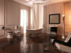 An elegant bathroom must have elegant bathroom fixtures, and the Retro collection toilet bowl is certainly an example of elegance. Classic Style Bathrooms, Classic Bathroom, Retro Bathrooms, Expensive Houses, Duravit, Bathroom Interior Design, Bathroom Designs, Bathroom Fixtures, Clawfoot Bathtub