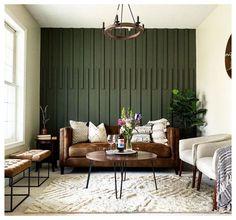 Green Accent Walls, Accent Walls In Living Room, Accent Wall Bedroom, Home Living Room, Living Room Decor, Wood Accent Walls, Green Walls, Kitchen Accent Walls, Wood On Walls