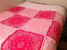 Light Pink and Hot Pink Bandanas make a beautiful rag quilt.