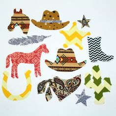 12 Boy Western Themed Iron On Appliques for Onesies, Bibs, Bags, Pillow Cases, and other DIY Crafts or Baby Shower Activity