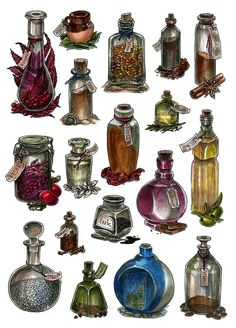 Bottles - watercolor by JuliaTar.deviantart.com on @DeviantArt