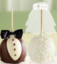 Bride and groom cake pops.