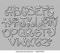 Graffiti Font Alphabet Letters. Hip Hop Type Grafitti Design Stock Vector 129071831 : Shutterstock