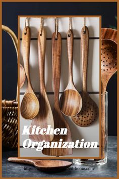 Our Handmade and Durable wooden spoons set is made from high-quality natural wood that will not deform easily and is highly heat resistant. All these kitchen utensils are made by hand, keeping in view the health standards. Kitchen Utensil Organization, Kitchen Utensils, Home Organization, Essential Kitchen Tools, Wooden Spoons, Cooking Tools, Kitchen Accessories, Natural Wood, Kitchen Decor