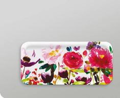 Plastic watercolored flower tray from Gretel http://www.gretelhome.com/ary-trays/672-red-roses-small-rectangular-tray.html