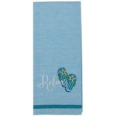"100% cotton. Pale blue. Relax and flip flops embroidered on bottom of towel. 28"" x 18""."