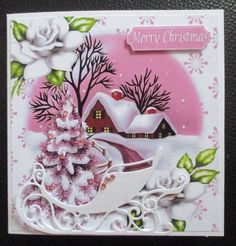 Lovely christmas scene with cottage & pink tree 8x8 by Davina Rundle: I printed on to matte photo paper at half size. Mounted the topper on…
