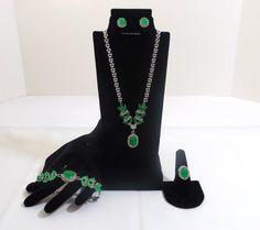 Faux Emerald and Diamond Demi Parure by katscache. Explore more products on http://katscache.etsy.com