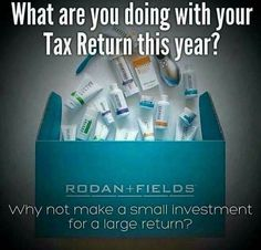 USE YOUR TAX REFUND... It's a WIN-WIN as you have the ability to earn back your investment not once but TWICE! Plus there's a 60 day money back guarantee... The proof is in the pictures & these products speak for themselves. How hard is it to wash your face & share about it with others? RF has laid the groundwork for us to build our businesses & I can show you how to fit it into the nooks & crannies of your life! #ChangingSkinChangingLives #RodanAndFields #60DayMoneyBackGuarantee