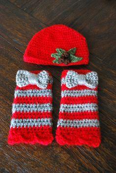 Baby Hat & Leg Warmer Set OSU Buckeyes Scarlet/Grey (Baby Gifts Baby Beanie Newborn Hat Crochet NCAA Hat Newborn Hat Baby Leg Warmers) on Etsy, $45.00