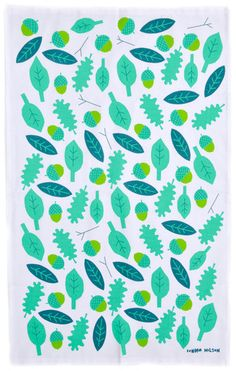 acorns & leaves tea towel, $20