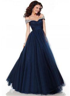beautiful navy blue ball gown