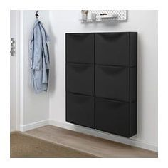 TRONES Shoe/storage cabinet, black, 20 Combine as many cabinets as you like and use the top surface to unload your wallet, cell phone or keys. Ikea Storage Cabinets, Shoe Storage Cabinet, Wall Storage, Storage Bins, Storage Spaces, Locker Storage, Shoe Storage Ideas For Small Spaces, Coat Storage Small Space, Garage Shoe Storage