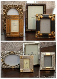 Tutorial for transforming frames/furniture with spray paint and gold leaf {The Creativity Exchange}