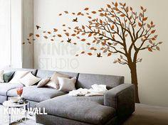 Blowing Tree Wall Decal, bedroom Wall decals wall sticker Vinyl Art  , wall design  KK128
