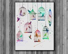 Birds in cages, Birds watercolor - Art Print, instant download, Watercolor Print, poster by Myaquamarine on Etsy