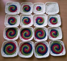 Spiral in a Square, free pattern by Josie Calvert Briggs.