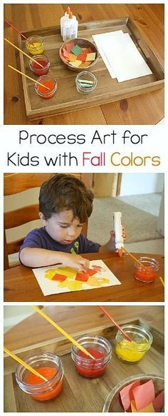 Fall Crafts for Kids: Process Art Activity Using Fall Colors- perfect for toddlers, preschoolers and on up!