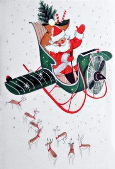 Vintage Santa in Helicopter Sleigh (10 Cool Vintage Santa images)