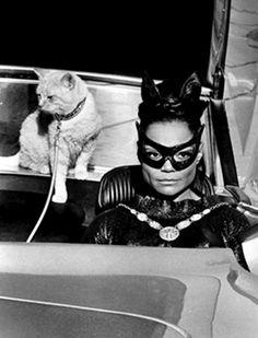 Catwoman (Eartha Kitt) and her Ginger Accomplice in tjhe Catmobile