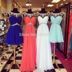 Latest Stunning Jeweled Rhinestone Beaded Scoop See Through Neckline Beautiful Short Chiffon Blue Prom Dress 2014 Formal Dress $129.99