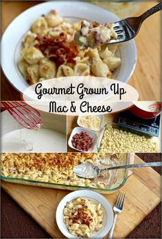 Grown up mac and cheese is nothing like the stuff you make from a box! The made-from-scratch cheese sauce, bacon, and baked cheese topping make it gourmet! Entree Recipes, Side Recipes, Dinner Recipes, Cooking Recipes, Cheese Recipes, Dinner Ideas, Freezable Meals, Quick Meals, Bacon Mac And Cheese