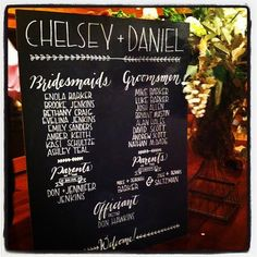 Large Wedding Chalkboard  Program  HandLettered  by HarleeStreet, $150.00