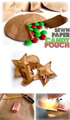 Sewn paper candy pouch, any shape to fit theme! I (TC) made these using hot glue to stick the two sides together, fast and easy.  Stitches are cute but for pinata fillers the glue was fine.  I used a garbage can silhouette and recycle symbol triangles for C :)