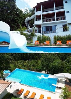 double loop water slide going from its top balcony to the pool why not make your house into a water park