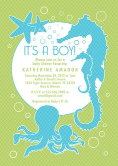 Sea and Ocean Theme Baby Shower Invitation Custom - Boy - Digital File - Printable - Item 111 via Etsy