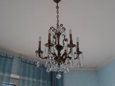 Italian authentic vintage antique solid brass 6 arms crystal chandelier on Etsy, 447,01 €