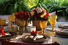 Decoração Lanna Corrêa  #decoração #casamento #vermelho #casamentorustico #wedding #rusticwedding #redwedding