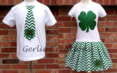 by GerlieCreations St Patrick's Day Dress, Day Dresses, Girls Dresses, Boys Ties, St Patricks Day, Short Sleeve Dresses, Trending Outfits, Shirts, Vintage