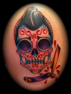 Male Tattoo Ideas Day Of The Dead Elvis