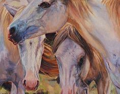 """Insight into the commission process:        """"Three Mares"""" commissioned piece by artist Karen McLain.  Karen travels to meet her subject, painting the horse on location or to paint """"visual notes"""" as well as taking photos for reference. An important factor is also getting to know the personality of the horse she is depicting. """"The most important factor for me is to know """"Who"""" I am painting."""""""